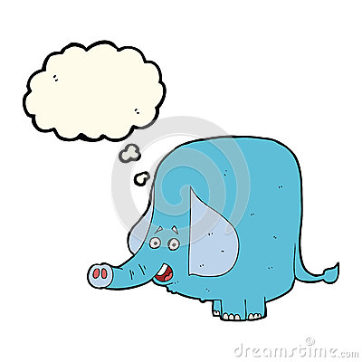 Free Cartoon Funny Elephant With Thought Bubble Stock Photo - 52895560