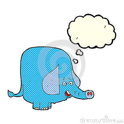 Free Cartoon Funny Elephant With Thought Bubble Royalty Free Stock Photo - 52895635