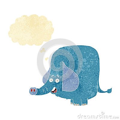 Free Cartoon Funny Elephant With Thought Bubble Royalty Free Stock Images - 52896919
