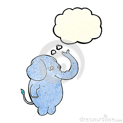 Free Cartoon Funny Elephant With Thought Bubble Royalty Free Stock Photos - 52908258