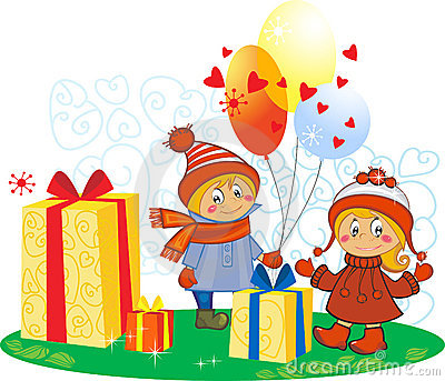 Cartoon funny girl and boy with gifts and balloons