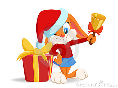 Cartoon funny rabbit with christmas hat and gift b