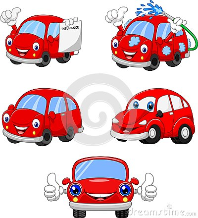 Free Cartoon Funny Red Cars Collection Stock Images - 123347084