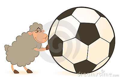 Cartoon funny sheep play in football