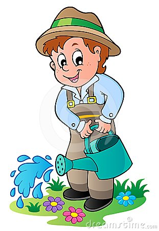 cartoon gardener with watering can stock image image