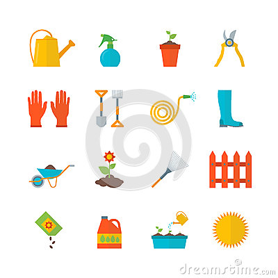 Cartoon Gardening Equipment Color Icons Set. Vector Vector Illustration
