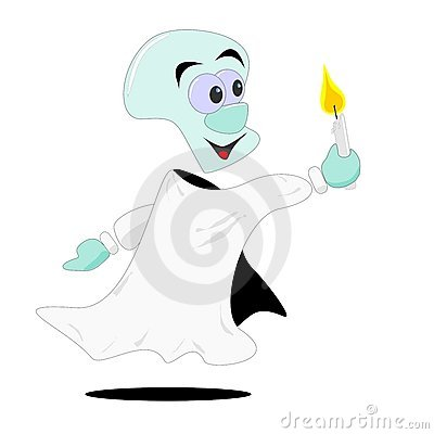 Cartoon ghost & candle