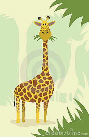 Cartoon giraffe with trees