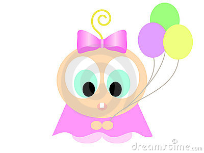 Cartoon girl with balloons