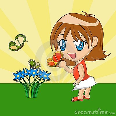 Cartoon Girl with Butterfly