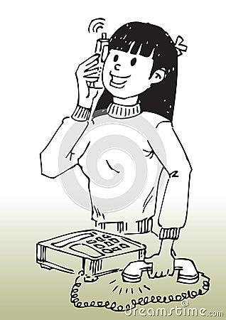 Cartoon girl on cellphone