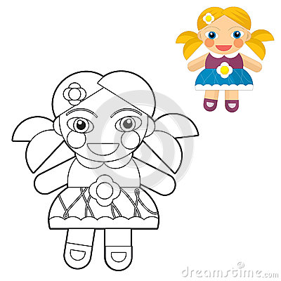 Cartoon girl - doll - coloring page with preview for children