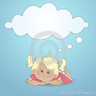 Cartoon girl dreaming with a thought bubble
