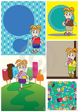 Cartoon Girl Eat Ice Cream Card Set_eps