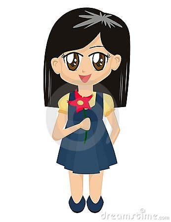 Cartoon Girl with Flower