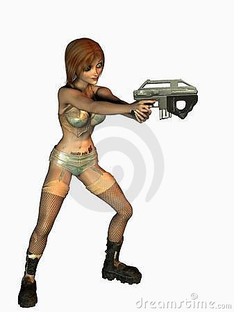 Cartoon girl with a gun
