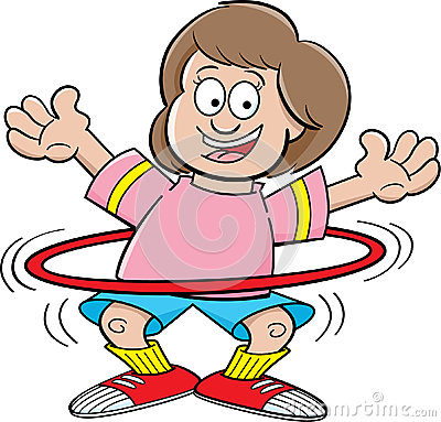 Cartoon girl with a hula hoop
