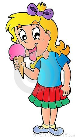 Cartoon girl with icecream