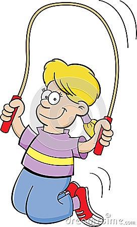 Cartoon girl jumping rope