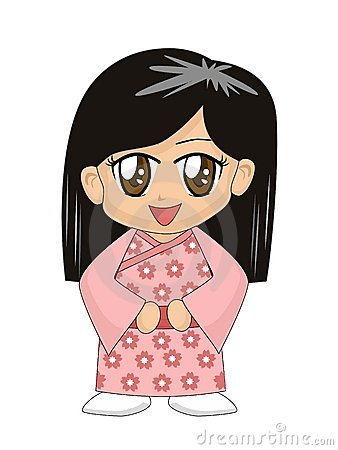 Cartoon Girl in Kimono