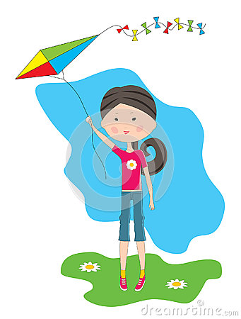 Cartoon the girl with a kite