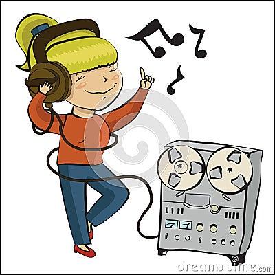 Cartoon girl listen music and dansing