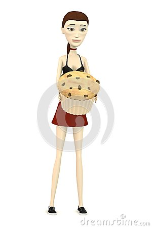 Cartoon girl with muffin