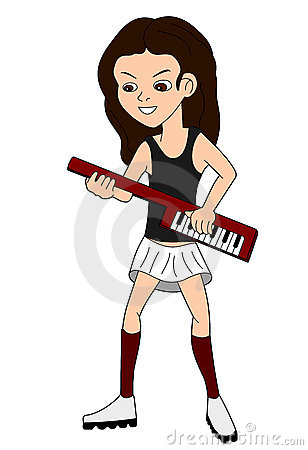 Cartoon of a girl playing the keytar
