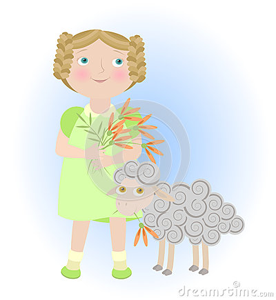 Cartoon girl with sheep illustrating aries zodiac