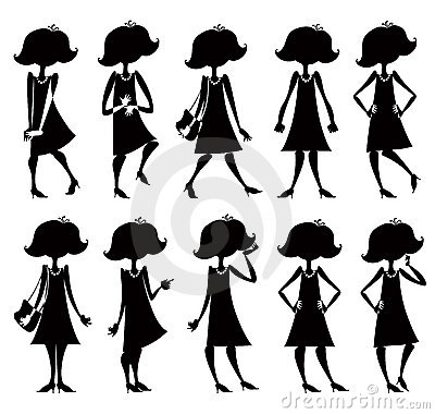 Cartoon girl silhouettes set.