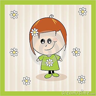 Cartoon girl summer illustration