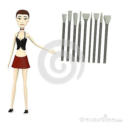 Cartoon girl with tools for stonework