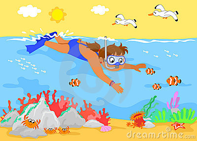 Cartoon girl underwater