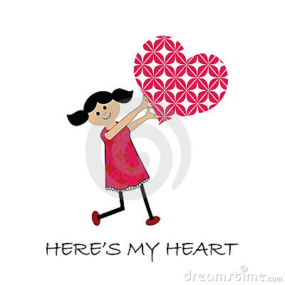 Free Cartoon Girl With Heart (SEAMLESS Patterns) Royalty Free Stock Image - 12611106