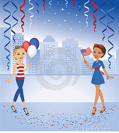 Cartoon Girls celebrating in Red and Blue Colors