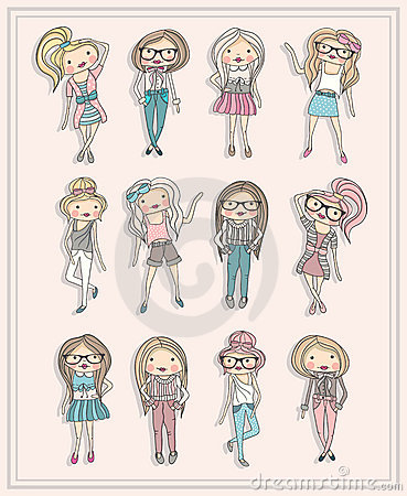 Cartoon girls. Fashion children set.