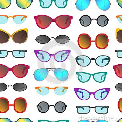 Free Cartoon Glasses And Sunglasses Seamless Pattern Background. Vector Stock Photo - 107798780