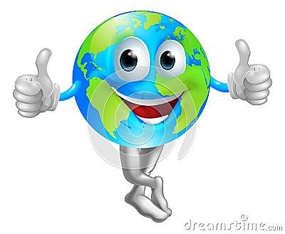 Cartoon globe mascot man