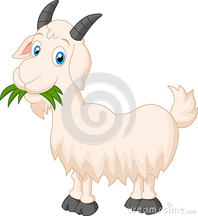 Free Cartoon Goat Eating Grass Royalty Free Stock Image - 49491036