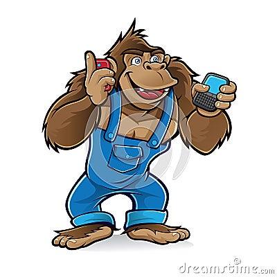 Free Cartoon Gorilla With Mobile Phones Royalty Free Stock Photo - 22824285