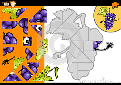 Cartoon grapes jigsaw puzzle game