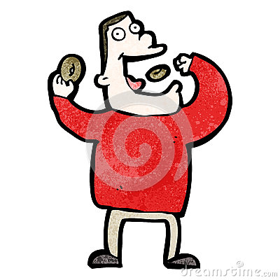 Free Cartoon Greedy Man Eating Junk Food Royalty Free Stock Images - 38074719
