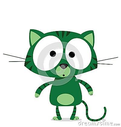Cartoon green cat