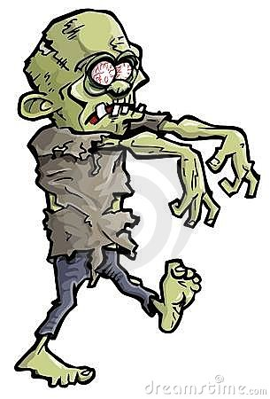Cartoon of a green zombie hand