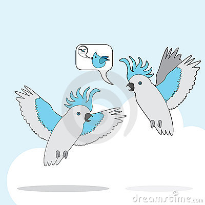 Cartoon grey parrot talking and flying