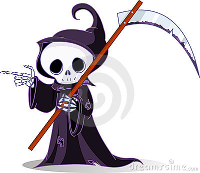 Cartoon grim reaper  pointing