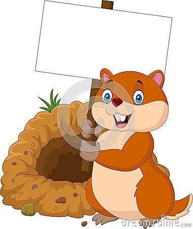 Free Cartoon Groundhog Holding Blank Sign Royalty Free Stock Photo - 100093905