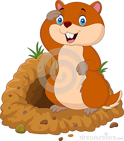 Free Cartoon Groundhog Looking Out Of Hole Royalty Free Stock Photo - 100093895