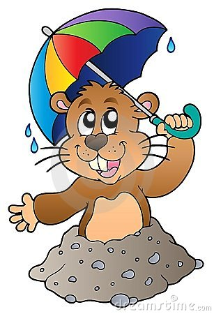 Cartoon groundhog with umbrella