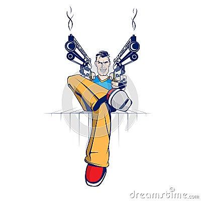 Cartoon gun gangster